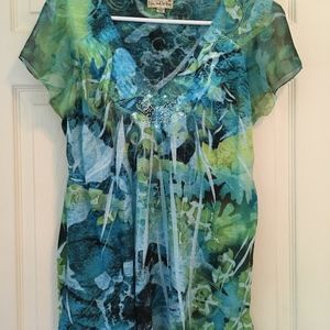 Beautiful watercolor top, blues and greens med